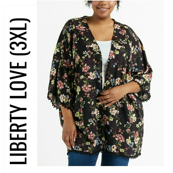 Liberty Love Women/'s New 3XL Ivory Multi Color Floral Open Front Cardigan NWT